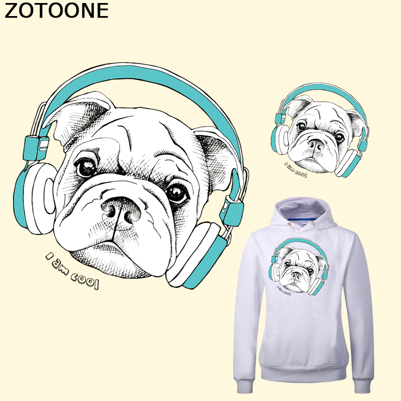 ZOTOONE  Headphones Dog Iron on Patch for Clothes Iron-on Transfers Heat Print A-level Washable Ironing Stickers Appliques
