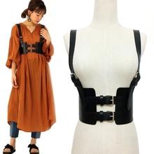 Fashion Punk Goth Leather Harness Body Bondage Belt  Women Cage Sculpting Leather Waist Belt chest belt slim body Waistband