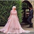 Новый 2017 Мусульманские Свадебные Платья Высокая Шея Длинные Рукава Часовня Поезд Бальное платье Аппликации Тюль Арабский Невесты Платья