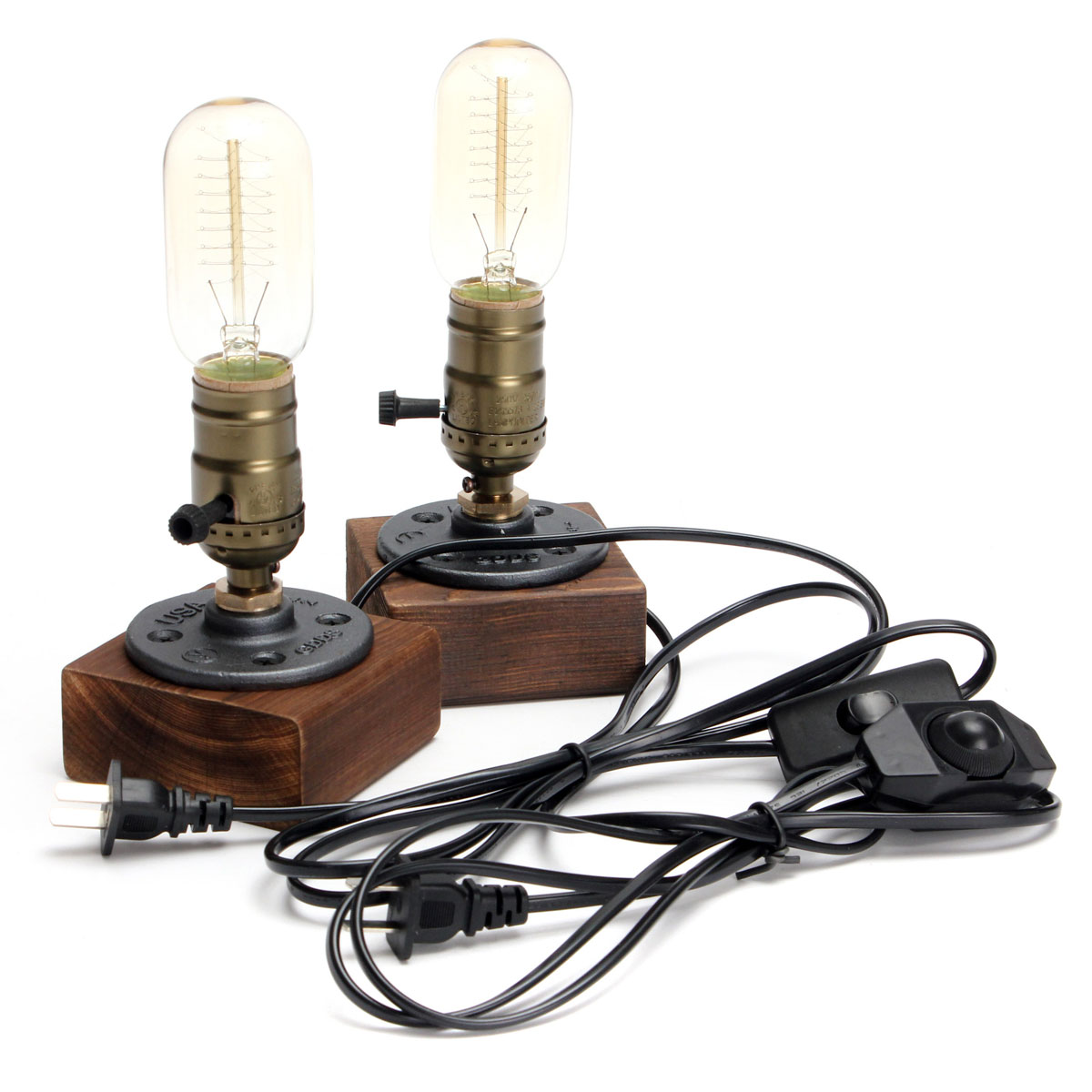 110V-220V Vintage Desk Light Table Lamp Edison Bulb E27 40W Industrial Retro Wooden Socket Lighting Fixture Dimmable Cafe Decor free shipping to russia 10 arms iron socket lighting diy industrial black chandelier with edison bulb 220v or 110v decoration