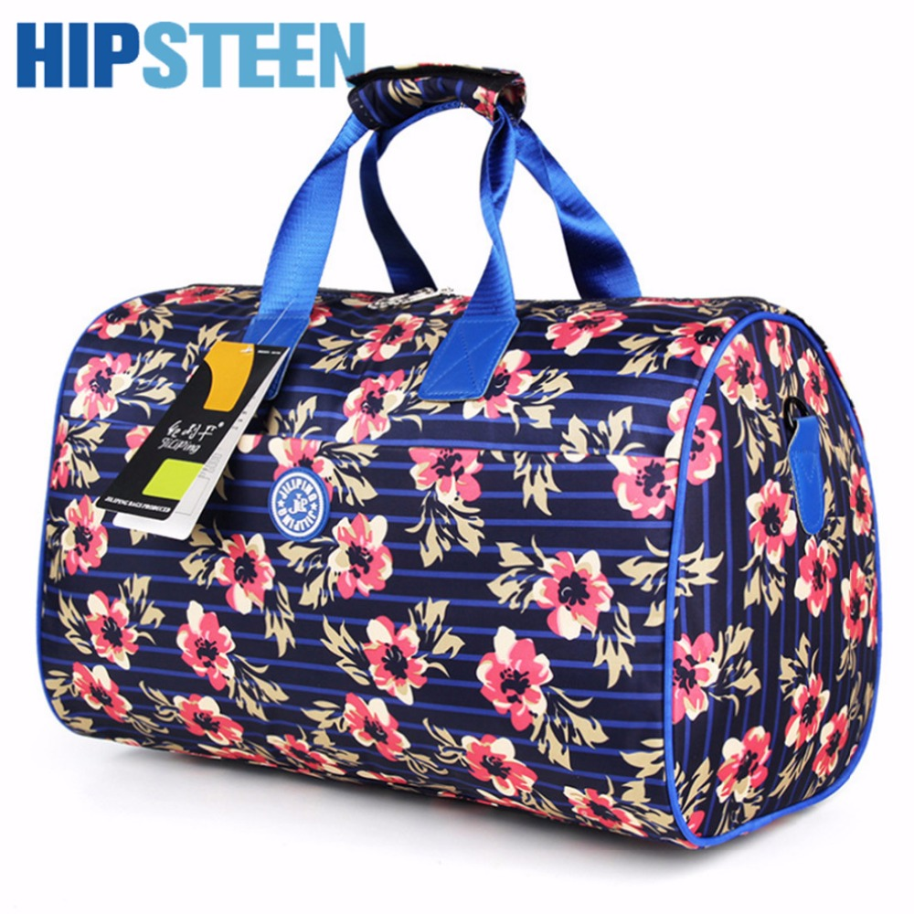 HIPSTEEN Women Bag Creative Floral Pattern Big Women Travel Bags Large Capacity Polyester Durable Folding Travelling Handbag Bag
