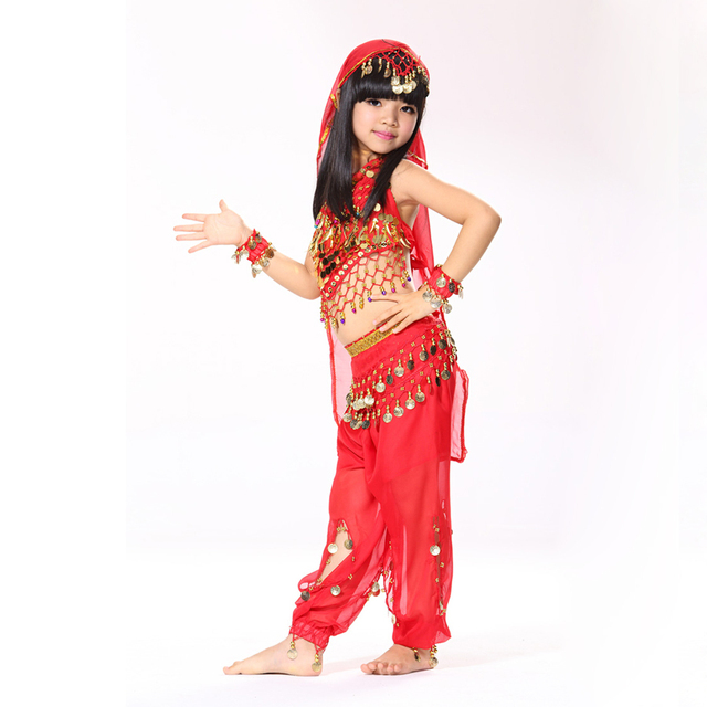 Performance 5-piece Set Halter Top, Belly Dancing Coin Belt, Pants and Headpiece Wristband Children Dance Wear Indian Costumes
