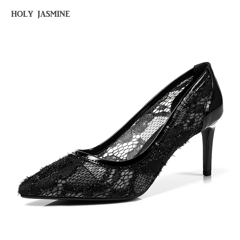 2018 New Women Thin Heels Pumps Sexy Laces Flower Mesh Hollow Pointed Toe High Heels shoes Lady Wedding Bridesmaids Party Shoes famiao women pumps goddess party wedding shoes 2017 new thin heels new zapatos mujer pointed toe golden superstar shoes