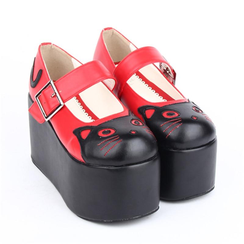 Plateforme Lolita Talons Kitty noir custom Cosplay Cm Chaussures Jane Heel Height Mary À 10 Height Belle 10cm rouge Hauts 8cm nwX8OkP0