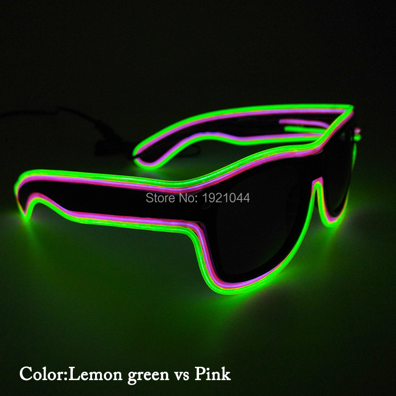 New type Voice Activated Light-up illuminated Neon Electroluminescent El Wire LED Glasses Light Costumes Glasses 50pcs