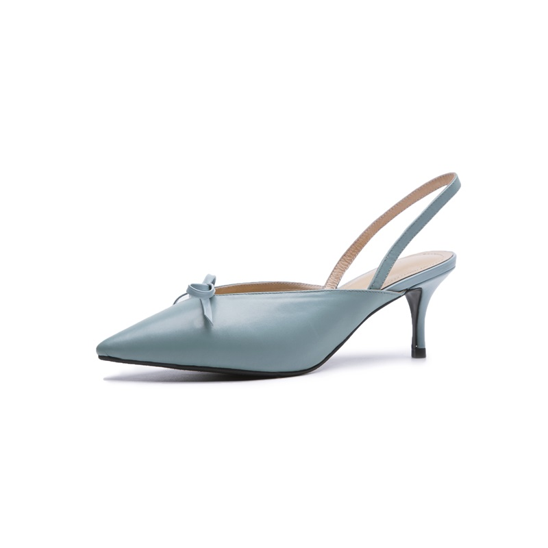 Bowties Fersen Schuhe Dünne Drei Mode blue Leder Slip black Pumpen Spitz Farben Apricot Neue Dame Zvq Echtem Außerhalb Aus auf Frauen Hohe 4wSOnqg