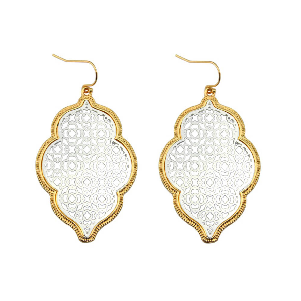 Two Tone Perak Filigree Maroko Earrings untuk Wanita 2018 Hot Pernyataan Fashion Anting Drop Earrings Perhiasan Anting-Anting Grosir