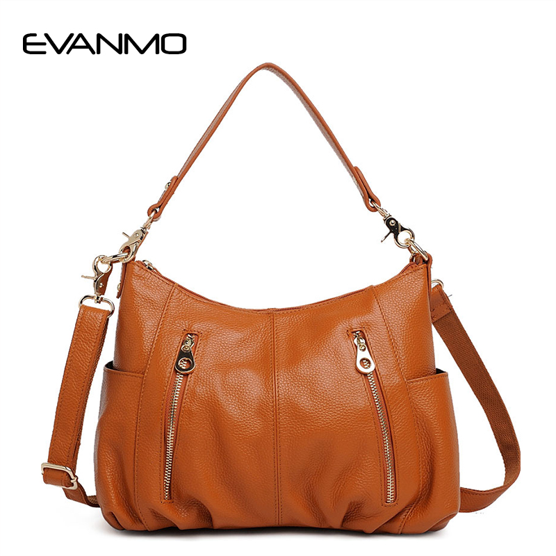Casual Women Hobo Bag Soft Genuine Cow Leather Shoulder Bags Lady Large Tote Shopping Handbag Bucket 100% genuine leather make cow leather handbag shoulder bag shell bag middle aged women suitable for life shopping the best gift