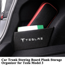 1pc Car Trunk Organizer Board Side Partition Storage Plate Plank Logo Stowing Tidying Styling Accessories for Tesla Model 3