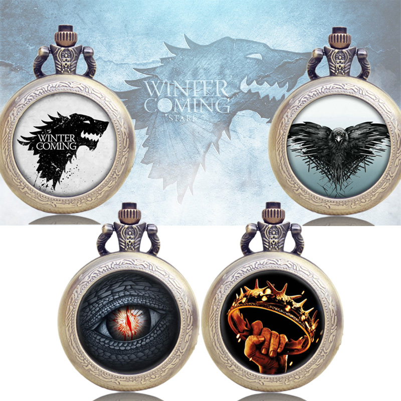 Game of Thrones Pocket Watch A Song of Ice and Fire House Symbol Fashion Vintage Modern Quartz Retro Women Men Necklace Chain a suit of retro fake gem rhinestone leaf tassel necklace and earrings for women
