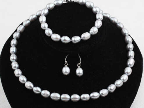 LL<<< 9-10mm Grey Natural Freshwater Pearls Necklace, Bracelet and Earrings Set