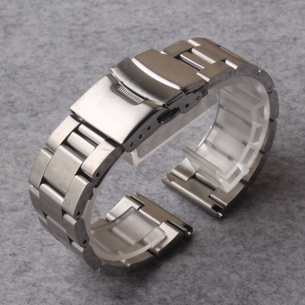 Watchbands Stainless Steel Watch Band 20mm 22mm 24mm Solid Links Straight ends with Safety Clasp Strap Loop Belt Bracelet Silver silicone rubber watch band 20mm 22mm 24mm for jacques lemans stainless steel pin clasp strap wrist loop belt bracelet tool