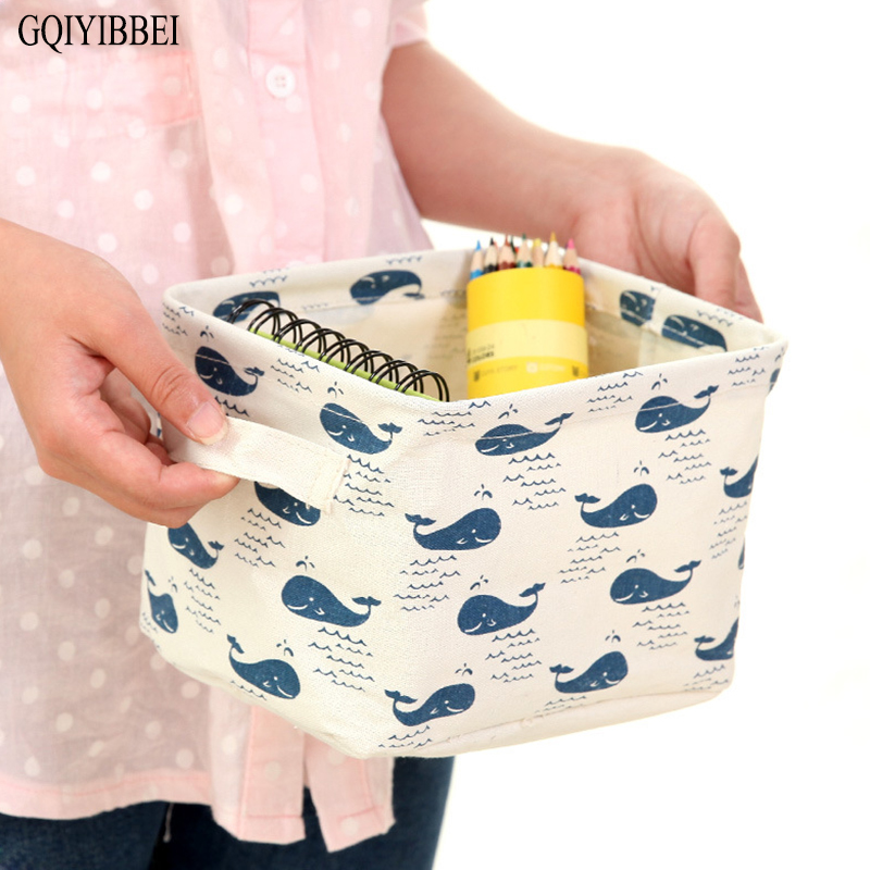 GQIYIBBEI Collapsible Waterproof Cartoon Pattern Desktop Storage Box For Makeup Organizers Holders Portable Sundries Baskets