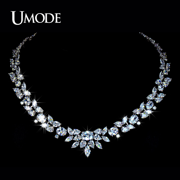 UMODE White Gold Color Poem of Spring Choker Necklace With Top Quality AAA+ CZ For Women Hot Luxury Jewelry AUN0027
