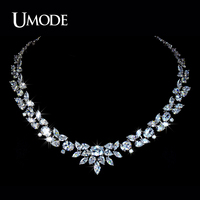 UMODE Brand Luxury Design White Gold Plated Poem Of Spring Necklace With Top Quality AAA CZ