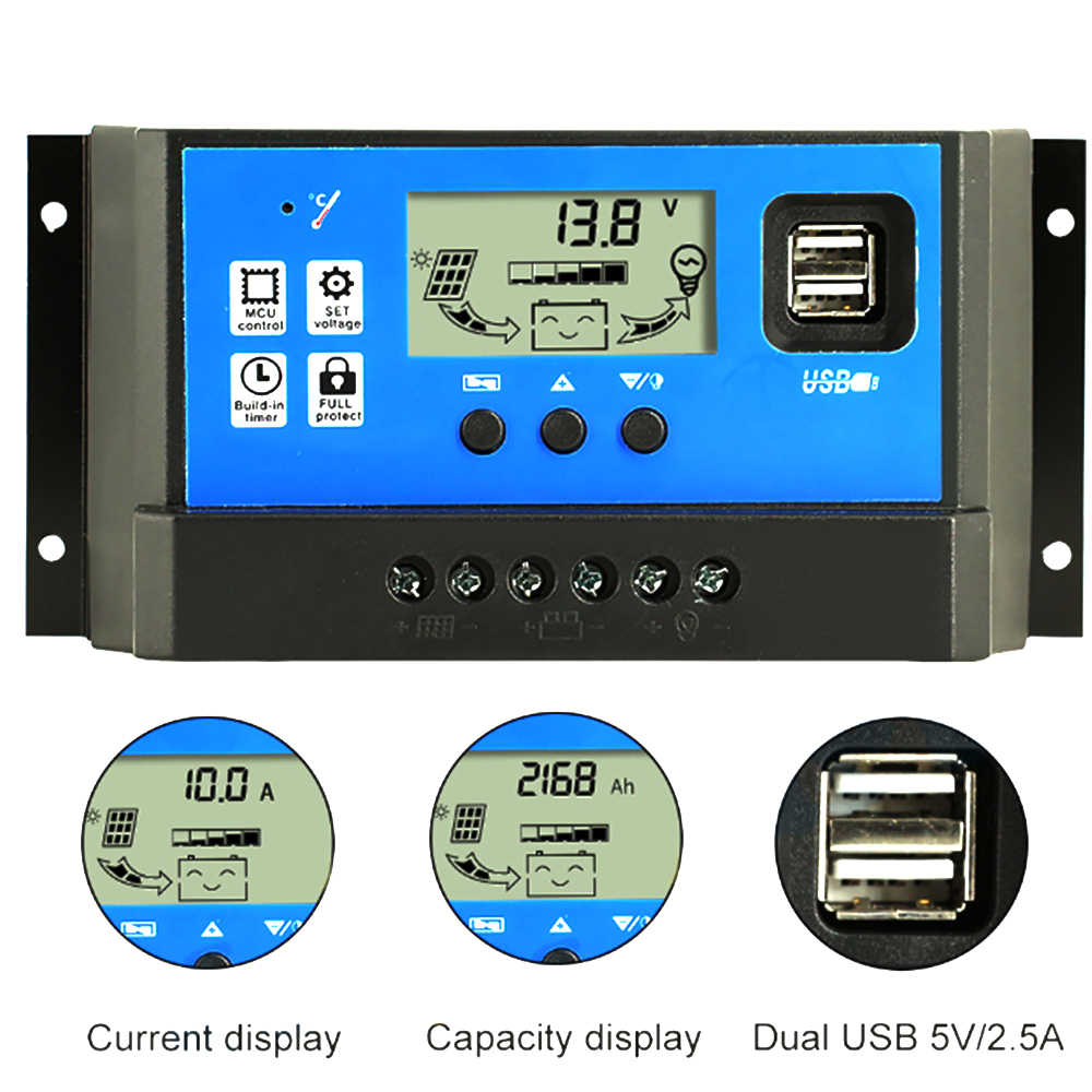 10A/20A  Auto Solar Charge Controller PWM Controllers LCD Dual USB 5V Output Solar Panel PV Regulator