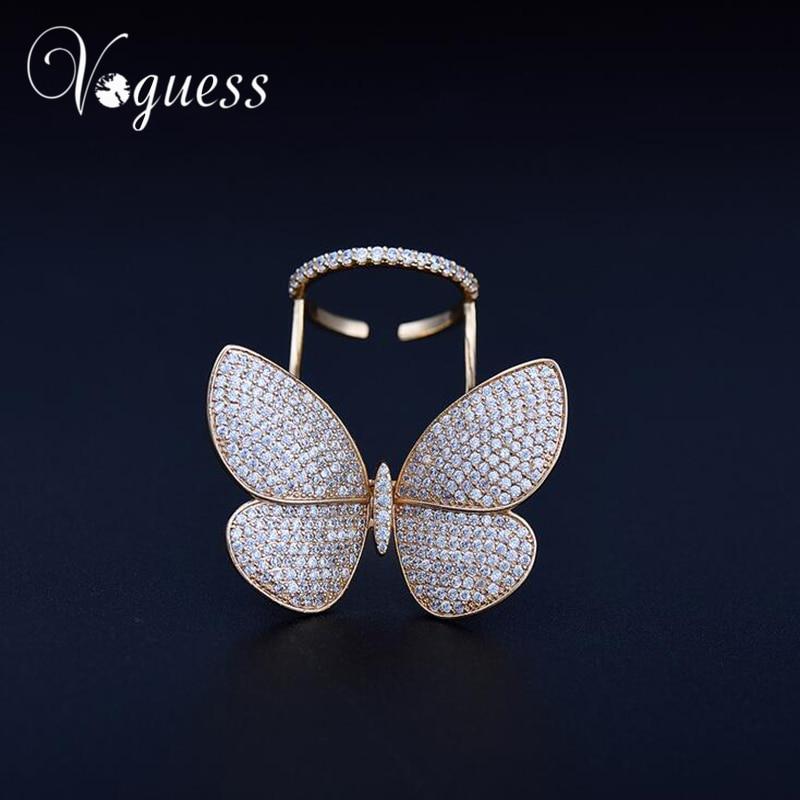 VOGUESS Marke Übertrieben Luxus AAA Zirkonia Großen Beweglichen Schmetterling Ringe Für Frauen Gold Farbe Shiny Party Zubehör