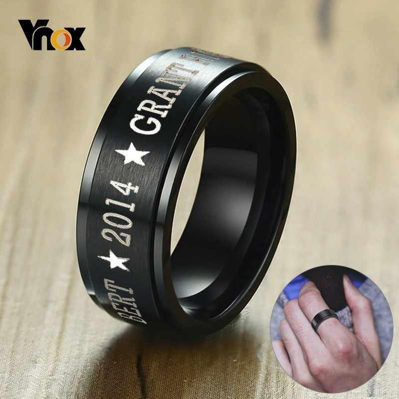 Vnox персонализированные черные кольца из нержавеющей стали класса Спиннер для мужчин 8 мм гравированные свадебные кольца ювелирные изделия простой индивидуальный подарок