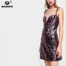 ROHOPO Spaghetti Strap Sequine Mini Tube Dress Sexy Female Summer Spangly Club Casual Bodycon Dresses #UK8662