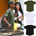 Kanye West Hip Hop Camiseta Cremallera Lateral Oro de Manga Corta 100% Algodón Camiseta Para Hombre T-shirt Moda Amplió Larga Divertida Camiseta