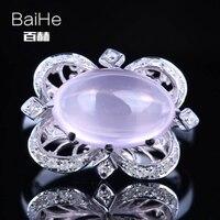 BAIHE Solid 14K White Gold AU585 4 75CT Certified Flawless Oval 100 Genuine Pink Quartz Wedding