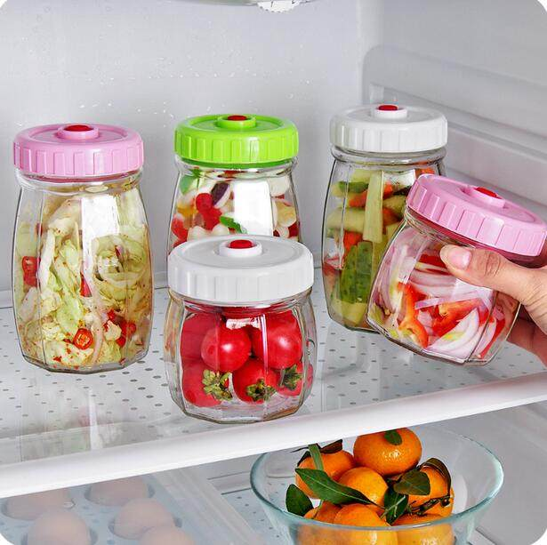 1d9b8b5c76bd Vacuum Sealed Mason Jar Transparent Glass Jar With Lid Snacks Candy Food  Storage Bottle