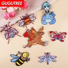 GUGUTREE embroidery bee buttlefly patches dragonfly animal badges applique for clothing YX-253
