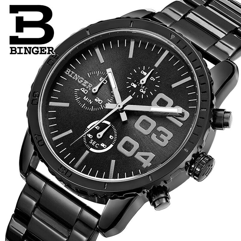 ФОТО Switzerland BINGER watches men luxury brand Quartz waterproof Chronograph Stop Watch leather strap Wristwatches B9007-2