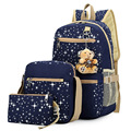 2017 new 4 Colors Backpacks Brand 3 pieces Sets Women Backpack Star Printing Canvas School Bags for Teenager Girls Shoulder Bag