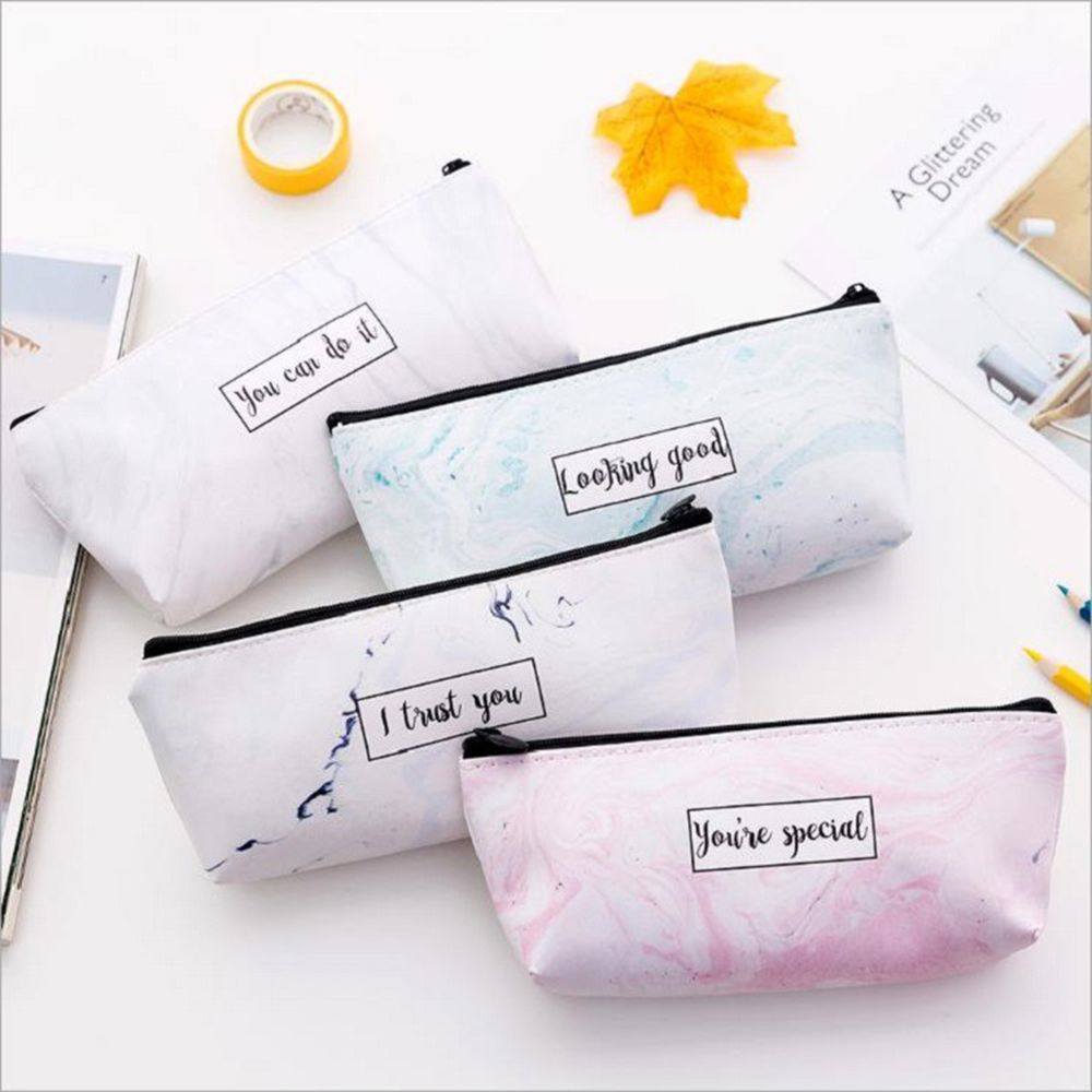 Marble Pencil Bag School Pencil Cases PU Large Capacity Waterproof Cosmetic Bag School Supplies Student Stationery