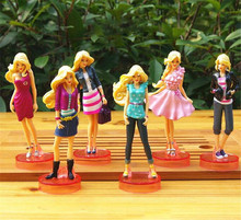 6PCS NOUVEAU BARBIE FIGURES JEU DE JEU KID FILLE FIGURINES DOLL JOUET GATE TOPPER DECOR MODELE FIGURINE CADEAU