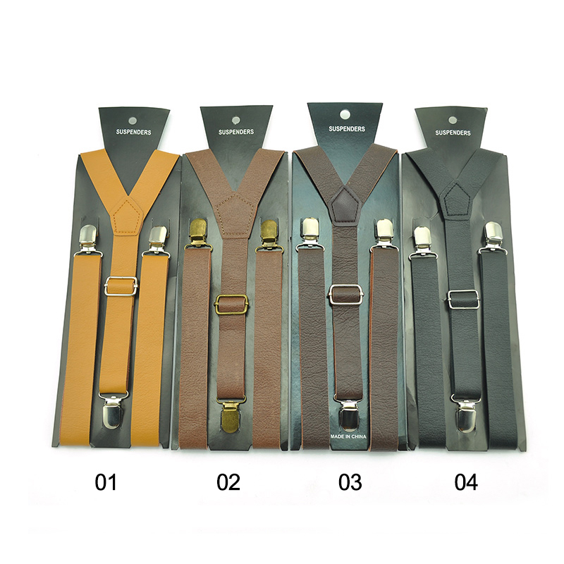 Newest High Quality Leather PU 4 Color 50 Inch Suspenders For Men Women Clip-on Braces Elastic Slim Y- Back Suspenders Wholesale