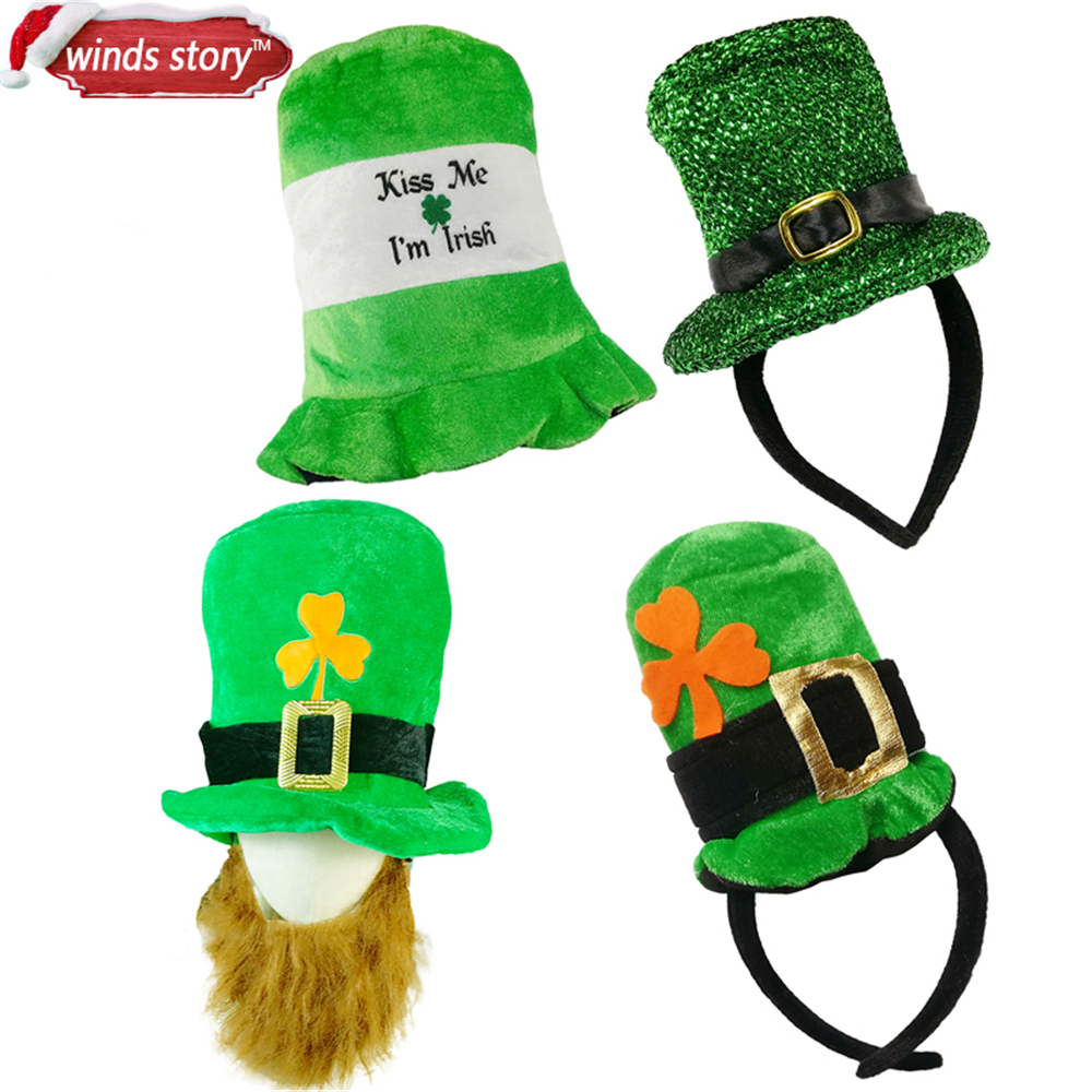 Saint Patrick Costume Leprechaun Top Hat Beard Accessory cap Headband Ireland Clover Gre ...