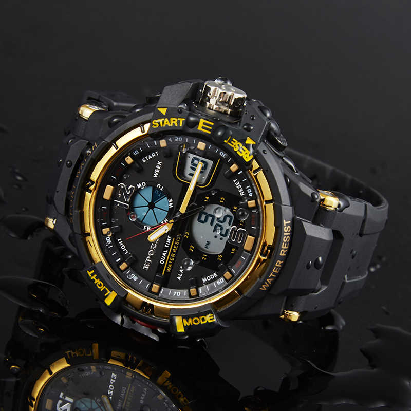 Epozz Mode Casual mannen Sport Horloge Digitale Horloges LED Digitale Gouden Kleur Japan Beweging goud relogio masculino 1703