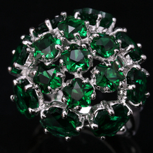 Superior Hydrangea Flowers Green Cubic zirconia White Gems 925 Sterling Silver Jewelrys For Women's Rings US# Size 6 7 8 9 S1437