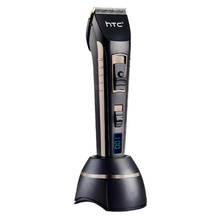 Htc Barber Electric Hair Clipper Rechargeable Hair Trimmer Titanium Ceramic Blade Lcd Display Salon Men Hair Cutting Machine E 100 240v low noise hair cutting machine clipper trimmer titanium ceramic blade hair trimmer cutter tools barber machine men cut