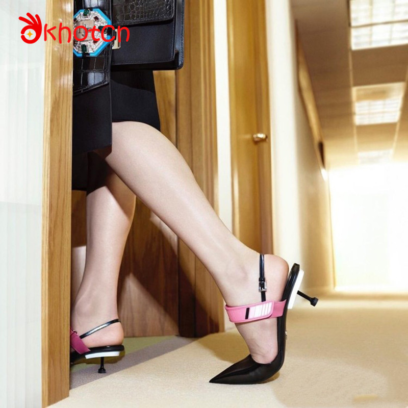 Okhotcn Runway Thin High Heels Shoes Woman Party Gladiator Shoes Pointed Toe Zapatos Mujer Fashion Sexy T-tied Sapato Feminino new arrival fashion bling chunky high heels woman pumps spring autumn unique cross tied pointed toe party zapatos mujer tacon