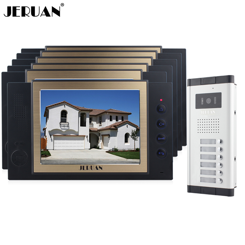 JERUAN Apartment 6 Doorbell Intercom 8 inch Video Door Phone Record Intercom System 700TVL IR Camera For 6 Call Button In stock wireless service call bell system popular in restaurant ce passed 433 92mhz full equipment watch pager 1 watch 7 call button