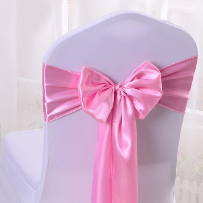 HAZY Wedding Satin Chair Sashes Bow Cover Sashes For Wedding Hotel  Banquet Party Decoration Color17x275cm