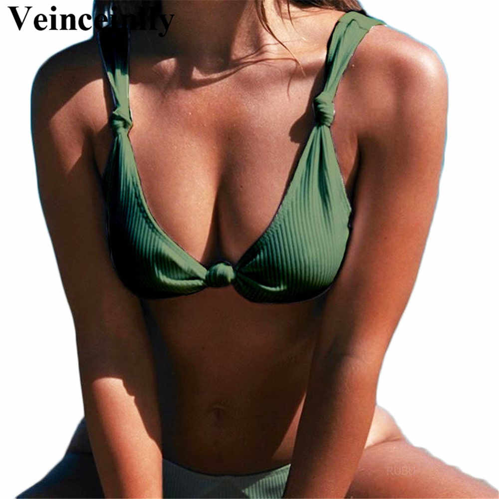 original attractivefashion sale usa online New Olive Green Sexy Ribbed Knotted bikini set 2018 two ...