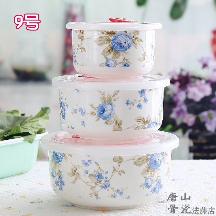 Three-piece set, blue rose flower painting, bone china box lunch, keep food warm lunch boxes children, thermos container - Real Bone China -- Amanda's Dinnerware Store store
