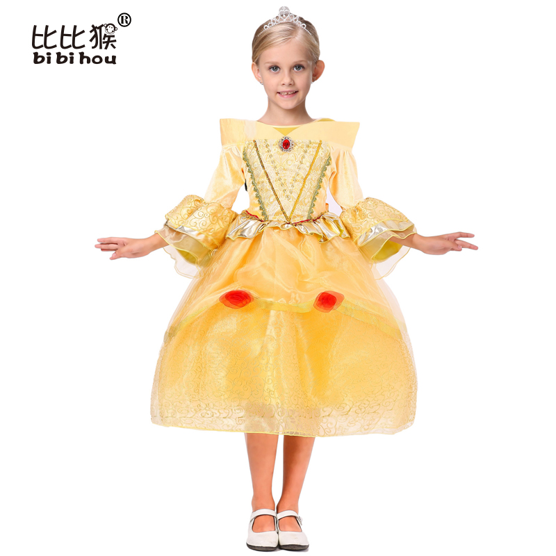 2016 Cinderella Girl Dress Children Snow White Princess sofia Dresses Rapunzel Kids Party dress Halloween Girls Cosplay Costumes qiu dong children dress long sleeved cinderella princess dress love sally dresses of the girls