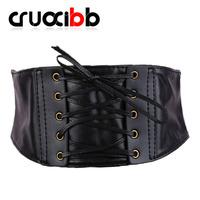 CRUOXIBB Women Elastic Wide Belt Stretchy Corset Belt Black Slim Faux Leather Cincher Waistband Belts For