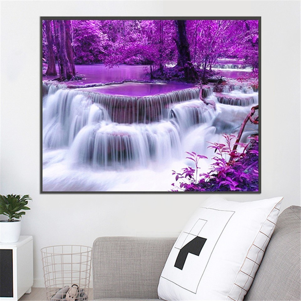AZQSD Full Square Diamond Painting Scenery Cross Stitch Diamond Embroidery Waterfall Rhinestones Pictures Gift Home Decoration in Diamond Painting Cross Stitch from Home Garden