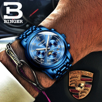BINGER Mens Moon phases Automatic mechanical Watches Men Top Brand Luxury Dive 30M Business full steel watch Man Luminous 2017