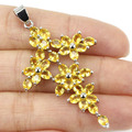 Gorgeous Long Cross Golden Citrine Created SheCrown Woman's Wedding   Silver Pendant 53x30mm