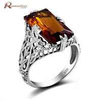 Brand Vintage 925 Sterling Silver Big Red Created Amber Crystal Ring Filled Crown Punk Women Jewelry