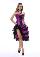 Caudatus Steampunk Purple Corset Dresses Sexy Corselet With Skirts Gothic Women Waist Trainer Lace up Wedding Clubwear Plus Size