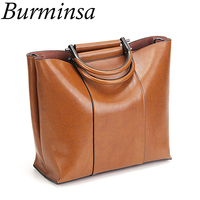 Burminsa Brand Metal Handle Women Genuine Leather Handbags Vintage Popular Gift Ladies Tote Designer Shoulder Messenger