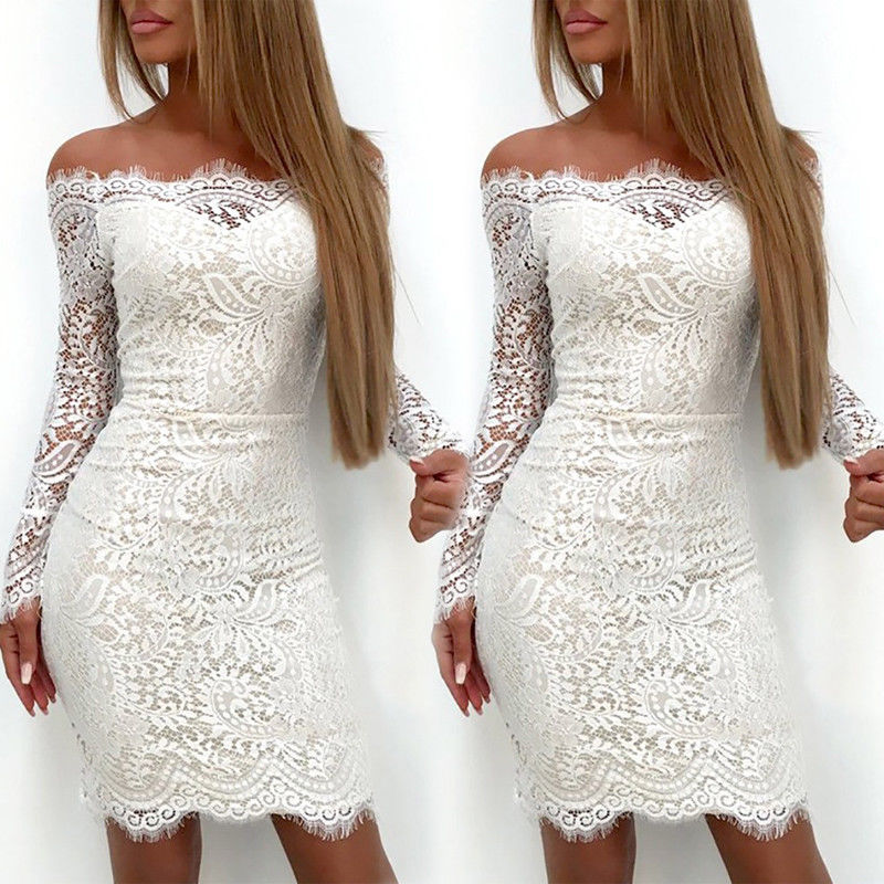 Womens Lace Long Sleeve Bodycon Off Shoulder Evening Party Club Short Mini Dress